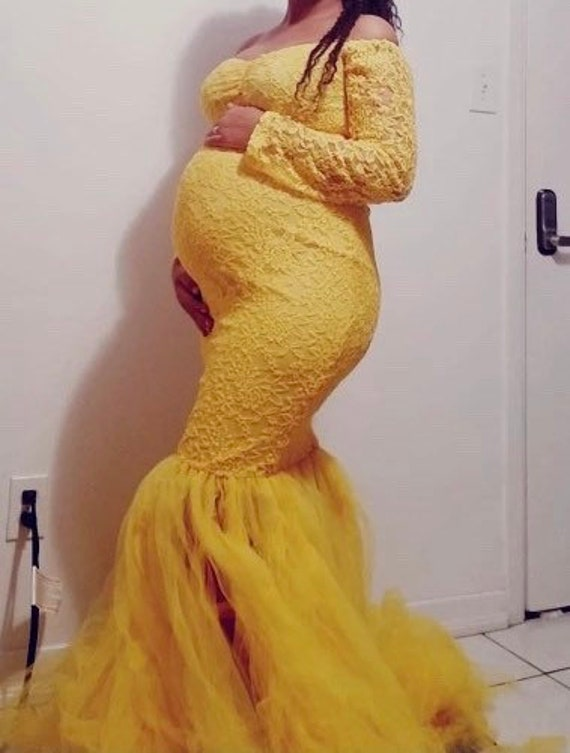 Long Sleeve Maternity Gown Lace Maxi Dress Pregnant Women Etsy