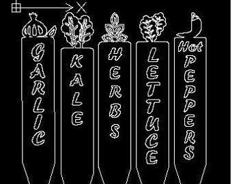 Garlic, Herbs, Hot Peppers, Kale, Lettuce, Garden Row Marker DXF. Laser / Plasma / Water Jet / Vinyl