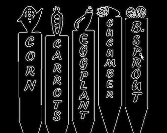 B. Sprout, Carrots, Corn, Cucumber, Eggplant, Garden Row Marker DXF. Laser / Plasma / Water Jet / Vinyl