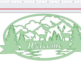 Woodland Scenery Welcome Sign DXF File for At home plasma, laser, or Water Jet Cutting