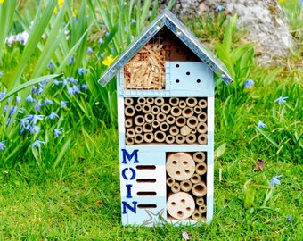 """Insect hotel """"Seaside"""". Hand-painted unique maritime specimen."""