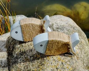 """Concrete fish set, """"wrap fish"""" natural, hand cast maritime decoration!"""