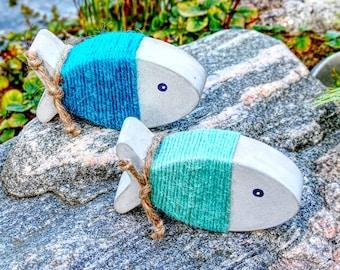 "Concrete fish set, ""wrap fish"" in blue-turquoise, colorful maritime decoration!"