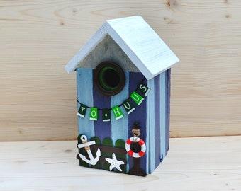 """Maritime bird nesting box """"To Huus"""". Handmade unique for coastal fans."""