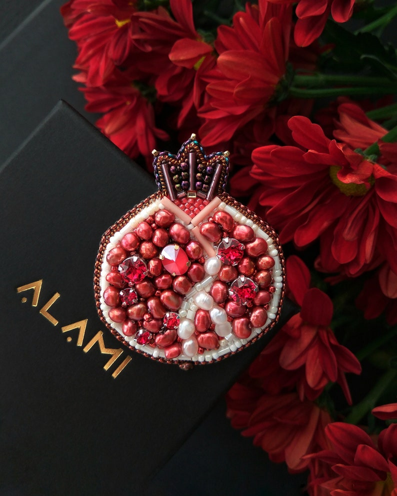 crystal pin brooch mother appreciation gift pomegranate bead pins Pomegranate beaded brooch pin embroidery beads brooches for women