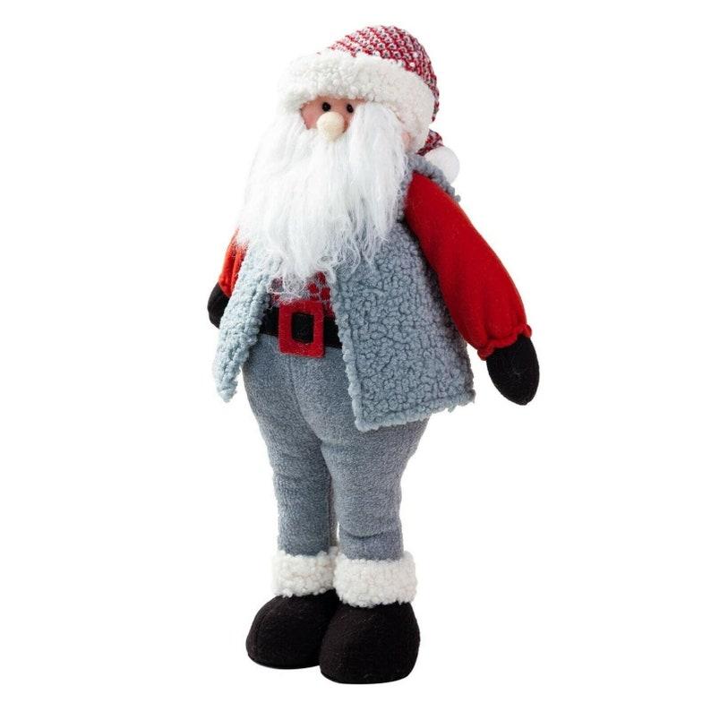 Home Ornaments TJ Global Handmade Standing Santa Claus Plush Doll Figurine Decoration Holiday Present Christmas Decoration 22 Inch