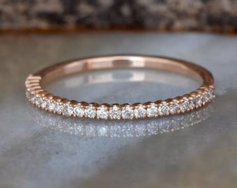 Marquise Cut Bezel Setting CZ Diamond 14K Yellow Gold Wedding Engagement Band Halloween Gift Christmas Gift Forever One Gift For Her