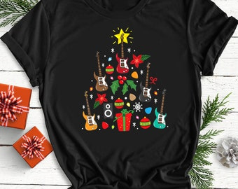 Funny Electric Guitar Christmas Tree t-shirt Xmas gift for guitarist rock blues
