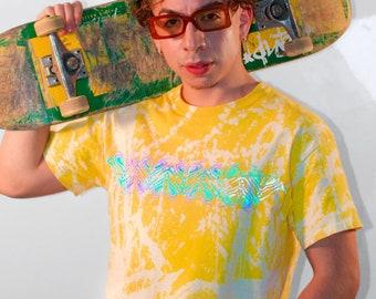 MANTIS   Yellow Acid Wash Holographic Rainbow Light Reflective T-shirt   Bleach Dyed T-shirt   Praying Mantis  