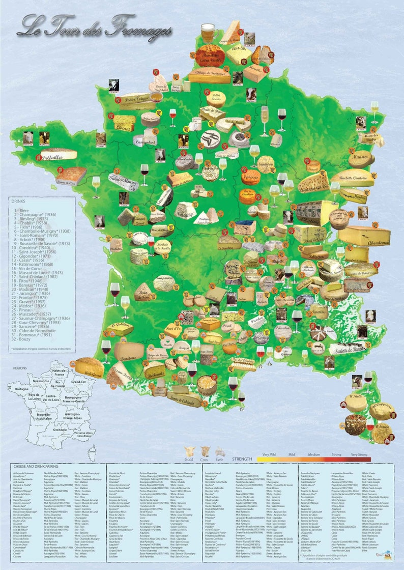 Cheese Wine Poster of France Cheese Wall Art Dining image 0