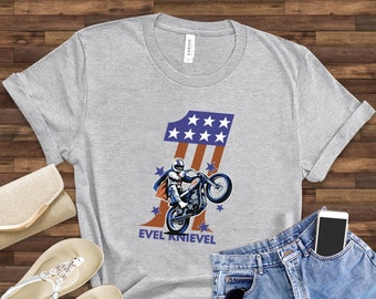 5XL New Evel Knievel T-Shirt Official Signature Logo Gray Heather Sizes SM