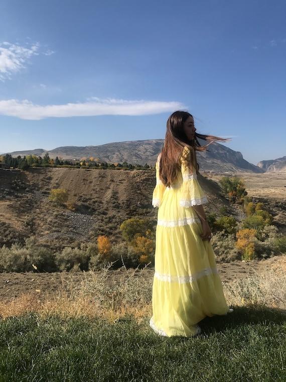 XS/S Prairie Maxi Dress - Lemon Yellow Mustard - S