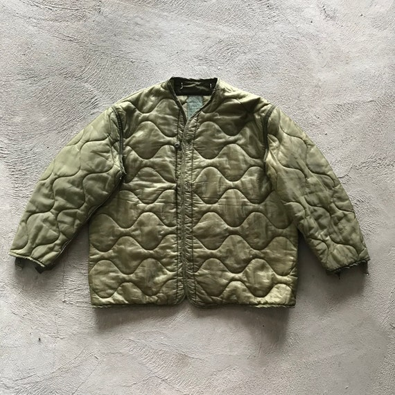 Vintage Quilted Army Jacket Liner - Oversized Smal