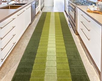 Mod 70s Retro Vintage Style CUSTOM Size Hallway Entryway Kitchen Floor Laundry Carpet Runner Rug, Non Slip Rubber Bottom, Avocado Green