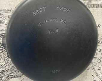 HTF  Best Made. S. R. & Co.... #9 Cast Iron Skillet..Made by Griswold Mfng. Co. for Sears. Smooth Bottom..P/N 1239..stock #21075