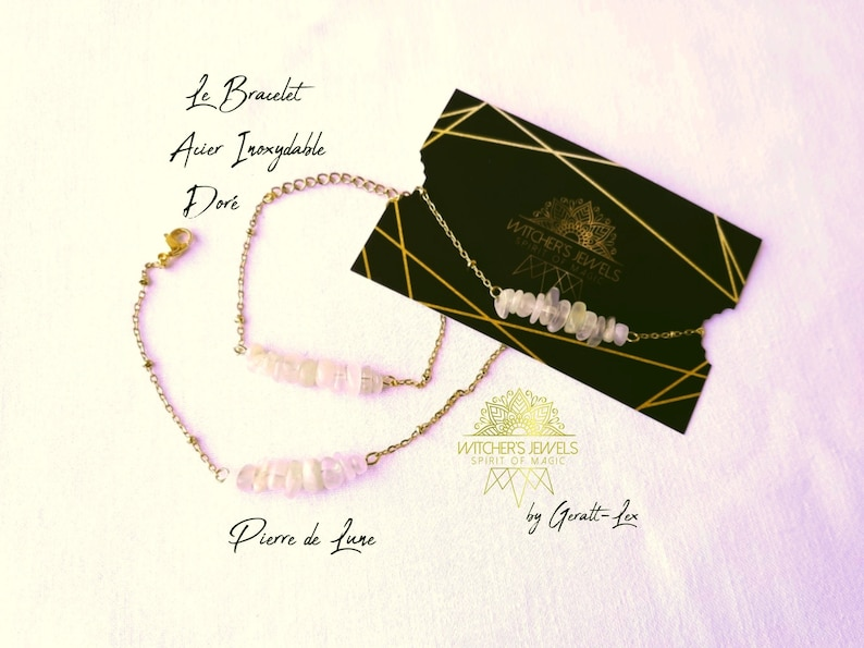 acier inoxydable plaqu\u00e9 dor\u00e9 ou argent\u00e9 blanc et or ou argent Bracelet cha\u00eene pierre naturelle v\u00e9ritable Pierre de Lune