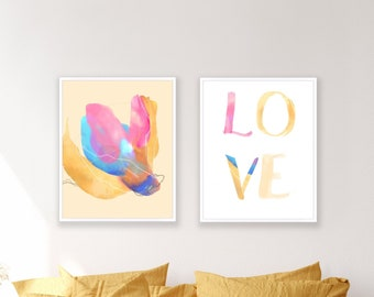 Abstract set of 2 images to download, abstract flower and LOVE in orange and blue, modern stylish art to download