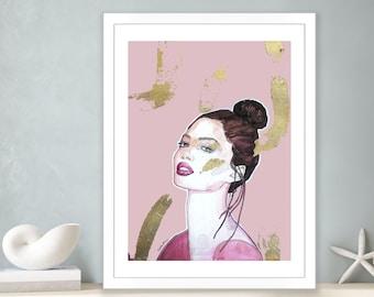 Premium Poster Golden girl, Vallentimi Art Prints, Art Prints and Original Pictures, Wall Poster Women's Portrait, Pink-Gold Wall Decoration