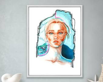Art print abstract portrait of women in blue and red