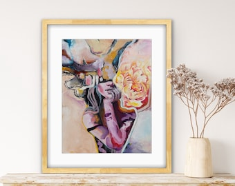 Art print abstract women in purple and yellow, modern original art reproduction as wall posters