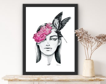 """Premium Poster """"Mindful"""", watercolor portrait of a woman with peonies and swallow in black and white and pink, Giclee art print"""