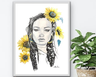 "Premium Poster ""Sunflowers"", Vallentimi Art Prints, Art Prints and Pictures, Women's Poster, Wall Decoration, Watercolor Portrait"