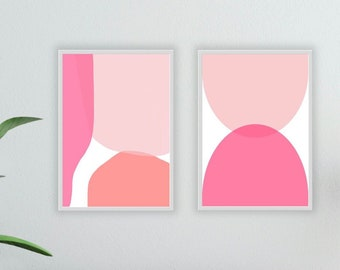 Abstract printable set of 2 images in pink with white background in Scandinavian style, minimalist art for download