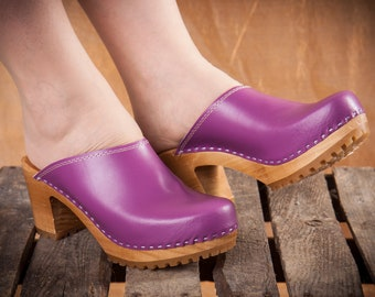 Purple Leather Clog Sandals - Swedish Handmade Wooden Clogs  -  Luxury High Heel Sandals  - Mother's Birthday Gift - Summer Shoes