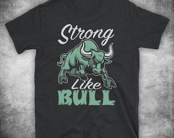 Mens Bodybuilding Strong Like Bull T-Shirt Gray