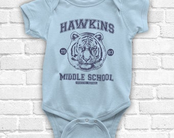 STRANGER THINGS HAWKINS MIDDLE SCHOOL UNOFFICIAL TIGER BABY GROW BABYGROW GIFT