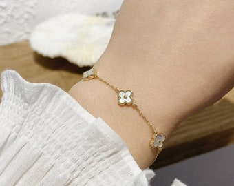6 clover mini cz bracelet 925 silver 18 K  White  gold plated four leaf clover bracelet 10 mm