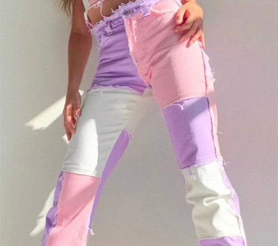 Patchwork Pastel Pink / Purple / White Trousers