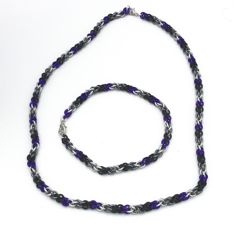 pride necklace and bracelet Asexual pride chainmail jewelry set asexual bracelet lgbt gifts asexual pride chainmail asexual necklace