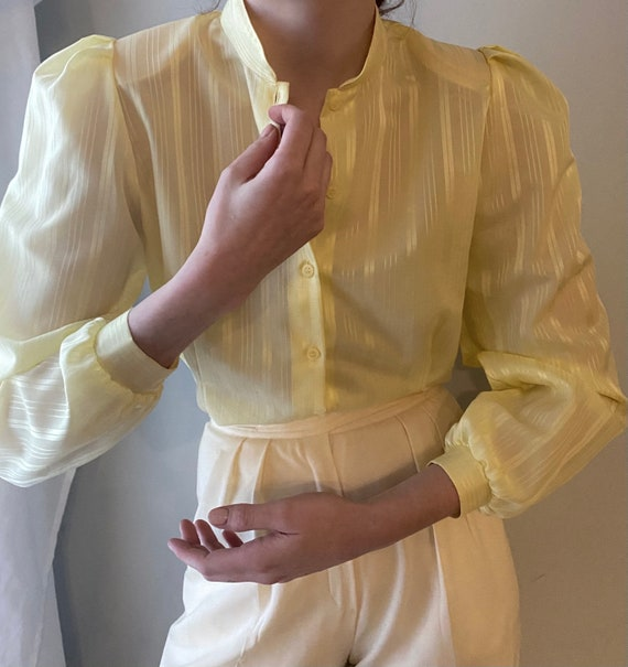 vintage victorian style yellow sheer blouse 1970s