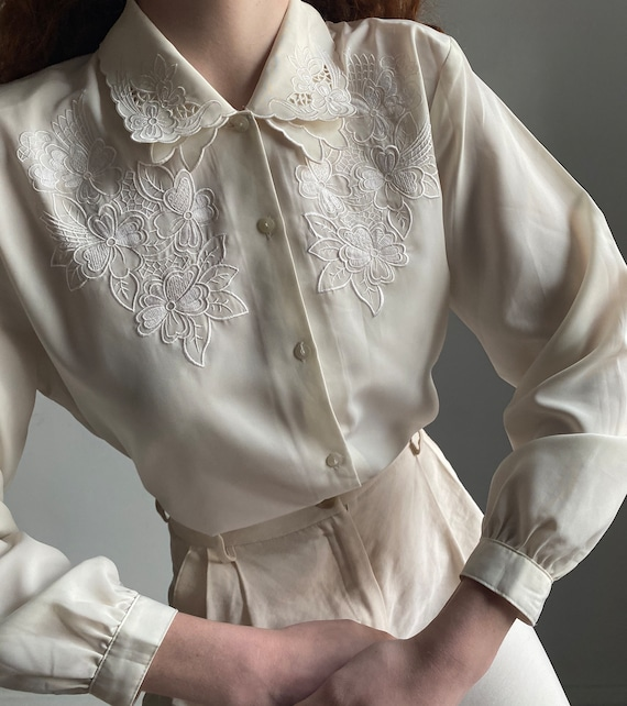vintage ivory blouse with embroidered details