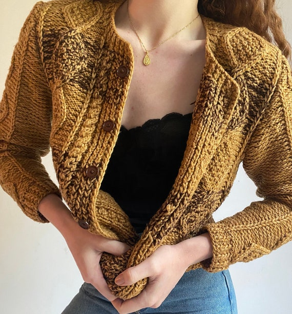 vintage burnt gold cable knit sweater