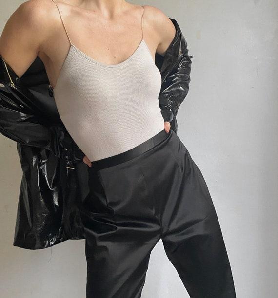 black satin 90s straight legged pants