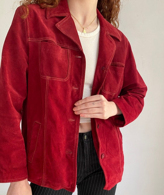 cherry red suede jacket