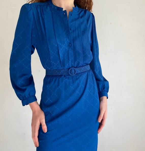 vintage cobalt blue midi dress