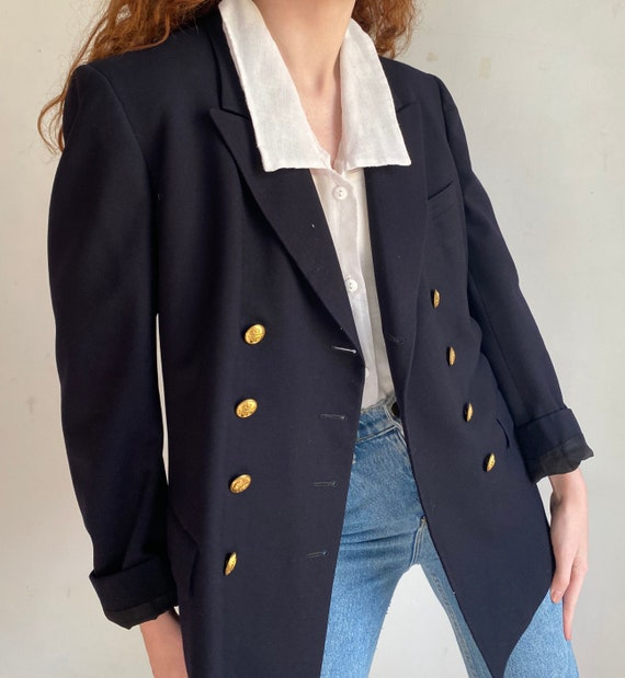 vintage double breasted navy blazer