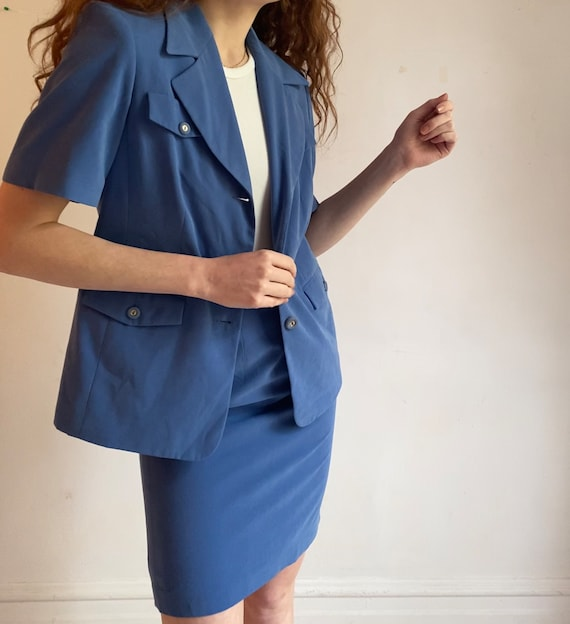 dusty blue matching skirt suit