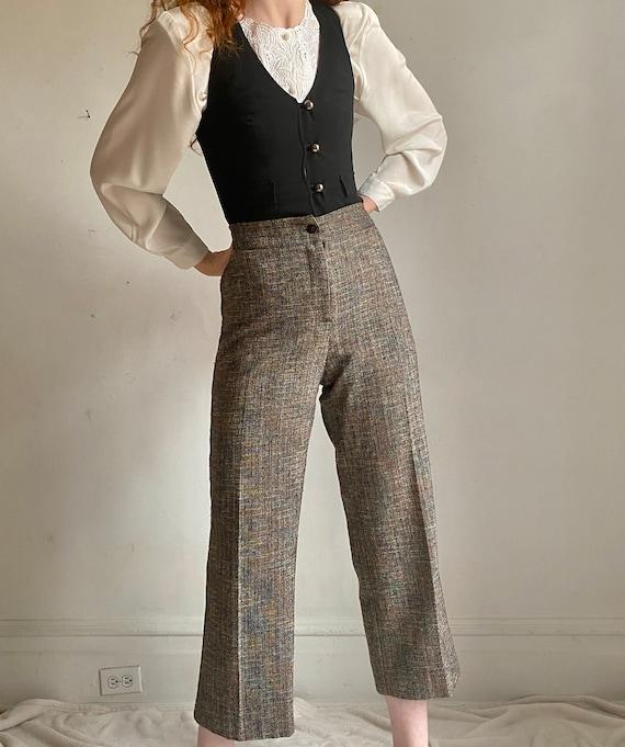 vintage wool blend wide leg trousers