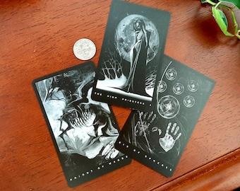 The Black Tarot pouch with free deck, dark tarot, shadow work, spooky tarot, black and white tarot, tarot cards, tarot deck with book, tarot