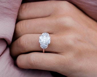 Three Stone Ring, 4.10 Ctw Elongated Cushion and Half moon Cut Ring, White Moissanite Engagement Wedding Ring, Anniversary Ring