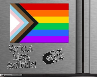 Progress Pride Flag Magnet or Sticker - Die Cut Waterproof Vinyl Sticker or Magnet   LGBTQ+   Rainbow Pride Flag