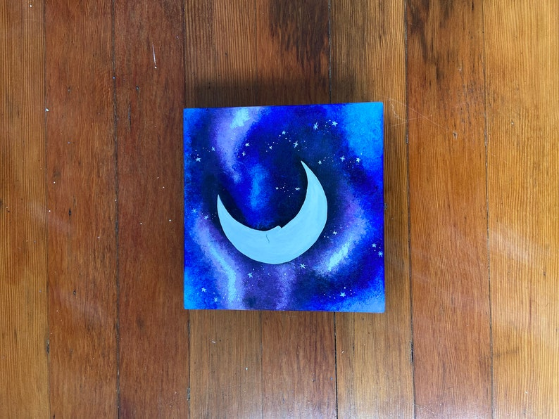 Nightsky Handpainted Trinket Box  Moon and Stars Box  Handpainted Jewelry Box  Small Wooden Box  Gift for her