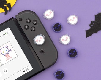 Nintendo Switch and Switch Lite Joycon Thumb Grips Accessories- Spirits White & Purple