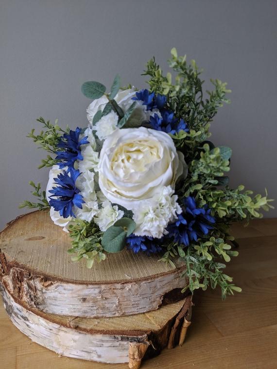 Royal Blue Bouquet Faux Flowers Wedding Bouquet White Etsy