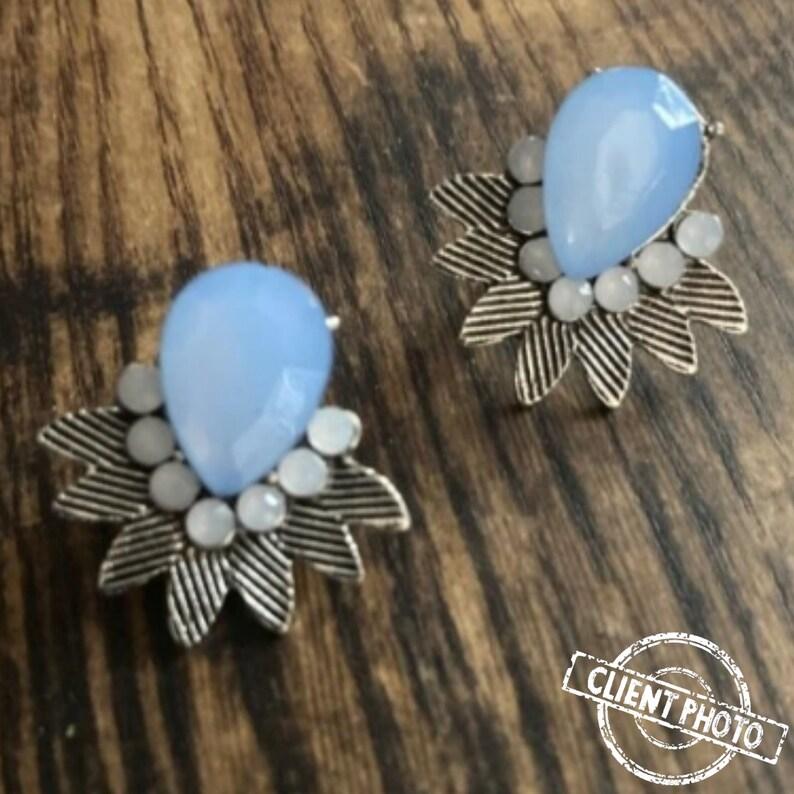 wedding earrings Silver Cluster Earrings Vintage Cluster Earrings Light Blue Cluster Earrings Cluster Earrings