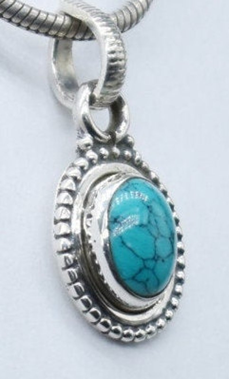 Timeless Natural Turquoise Pendant Necklace in 925 Sterling Silver